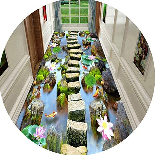 Korridor Teppiche 3D Lotus River Lang Läufer Teppich Flur, Verschleißfest Und Leicht Zu Schneiden Größe Kann Je Nach Küche Treppe Angepasst Werden Oversized green-80X300CM