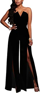 Women's Tube Top Strapless Split Wide Leg Jumpsuits Rompers