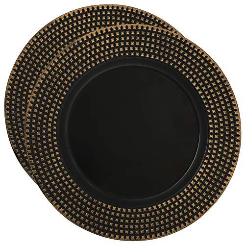 com-four® 2x Platzteller goldfarben-schwarz - Unterteller als Tischdekoration - Dekoteller für Hochzeit, Familienfeier oder Weihnachten - Ø 33 cm