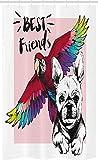 ABAKUHAUS Modern Schmaler Duschvorhang, Bulldogge Papagei Fre&e, Badezimmer Deko Set aus Stoff mit Haken, 120 x 180 cm, Mehrfarbig