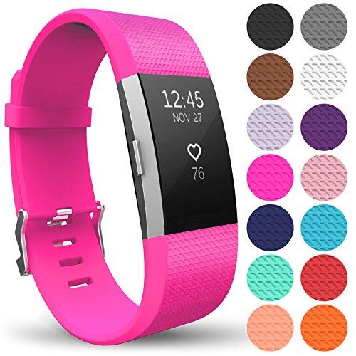 Yousave Accessories Fitbit Charge2 Cinturino, Sostituzione Braccialetto Sportivo in Silicone per Il Fitbit Charge 2 - Piccolo - Rosa Brillante