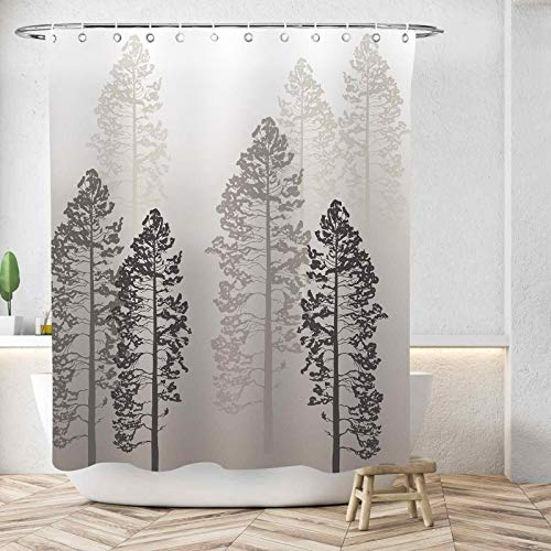 """D&M Forest Tree Shower Curtain Pine Trees On Foggy Seem Country Ombre Gray Wildlife Adventure Nature Style 72""""x72"""" Bath Curtain for Bathroom Bathtub Waterproof Polyester Fabric with 12 Shower Hooks"""