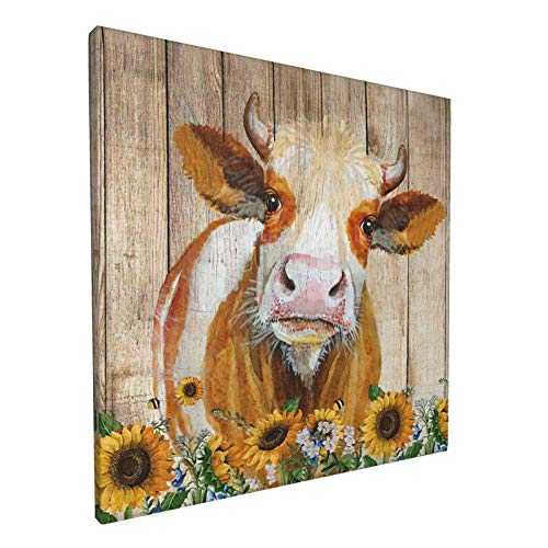 Cattle Cow And Sunflowers Wall Art Oil Painting On Canvas Home Decor Rustic Wooden Vintage Farm Animal Modern Pictures Painting For Living Room Ready To Hang,12x12in
