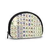 Mahjong - Bolso de tela Oxford china para monedas, bolsa pequeña con cremallera, bolsillo de cambio, mini bolsas de maquillaje cosmético, organizador multiuso