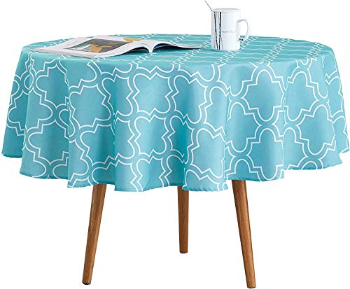Qucover Mantel Mesa 120 Redondo Antimanchas Impermeable Material 100% Tela de Vinilo Plástico cubremesa Azul para de Hogar Picnic Hotel Tienda De Café 150x150cm