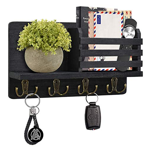 Y&ME YM Mail Organizer Wall Mounted, Rustic Key Hangers and Mail Sorter, Wood Decorative Mail Shelf with 4 Hooks, Key Holder for Wall, Wooden Key and Mail Holder for Wall Decorative (Black)