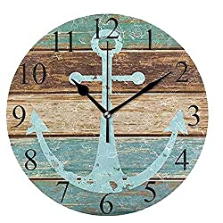 Wamika Round Wall Clock Vintage Anchor Wooden Rustic Country Clock Silent Non Ticking Decorative,Wooden Planks Nautical Theme Clocks 10 Inch Battery Operated Quartz Analog Quiet Desk Clock for Home