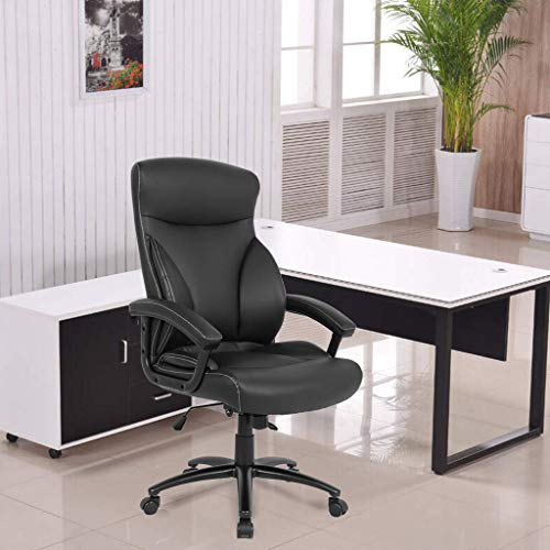 Smugdesk Executive Office Ergonomic Heavy Duty Computer Bonded Leather Adjustable Desk Chair, Black