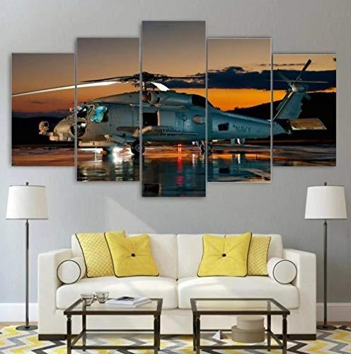 KOPASD Pared Arte de Obras de Arte Moderno Uh-60 Negro halcón táctico para Colgar Cuadros sobre El Lienzo con Bastidor(100x55cmx5pcs)
