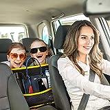 7TECH Car PU Pocket Handbag Holder, Yellow Trim Car Backseat Organizer, Car Mesh Organizer, Handbag Holder for Car, Seat Back Net Bag, Storage Netting Pouch, Car Storage for Purse Phone Documents