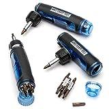 Kings County Tools Multi-Purpose Ratcheting Screwdriver | 3 Adjustable Handle Positions | Ergonomic & Sure-Grip Handle | 13 Steel Bits | Magnetic ABS Plastic Storage Cap