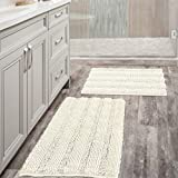 (Set of 2) Super Thick Soft Striped Shaggy Chenille Bath Mats Machine Washable Bath Rugs Set for Bathroom, Dry Fast Water Absorbent Bath Mats, Cream (Pack 2-20' x 32'/17' x 24')