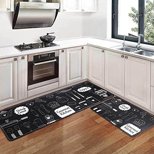 Pauwer Alfombrillas de Cocina antifatiga de 2 Piezas Alfombrillas cómodas Alfombras para pies Pesadas Alfombras de Cocina Antideslizantes Impermeables (Gourmet Negro, 44x70cm + 44x120cm)