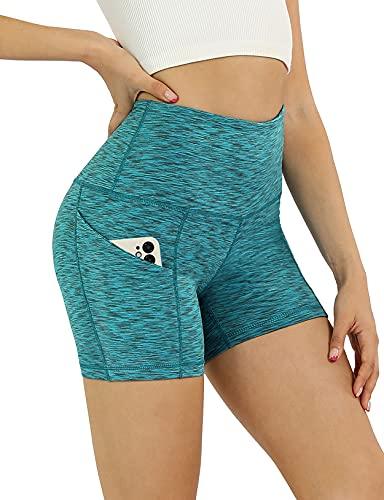 "ODODOS Women's 5"" High Waist Biker Shorts with Pockets, Tummy Control Non See Through Weokout Sports Athletic Running Yoga Shorts, SpaceDyeBlue, Medium"