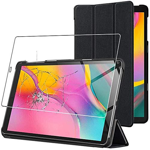 ebestStar - kompatibel mit Samsung Galaxy Tab A 10.1 Hülle 2019 T515 Schlank SmartCover [Ultra Dünn] Schutzhülle Etui Ständer Hülle Cover, Schwarz + Panzerglas Schutzfolie [Tab: 245x149x7.5mm, 10.1'']