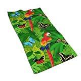 KiuLoam Tropical Rainforest Jungle Parrot and Butterflies Hand Towel Ultra Soft Highly Absorbent Luxury Towels for Bathroom Gym Spa