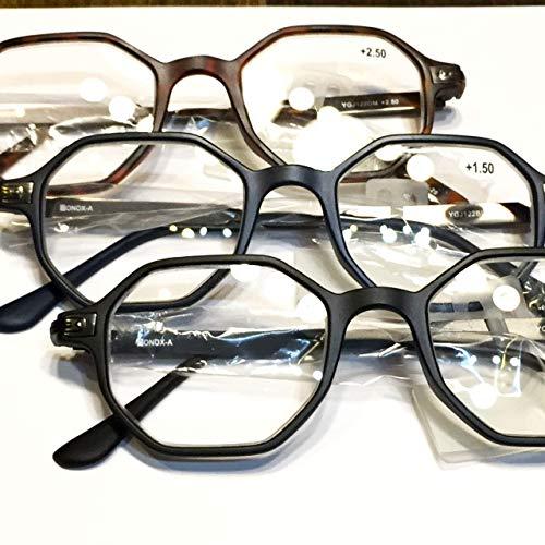 YGJ122 BONOX ダルトン おしゃれ 老眼鏡 シニアグラ Reading Glasses (BLACK, 1.0)