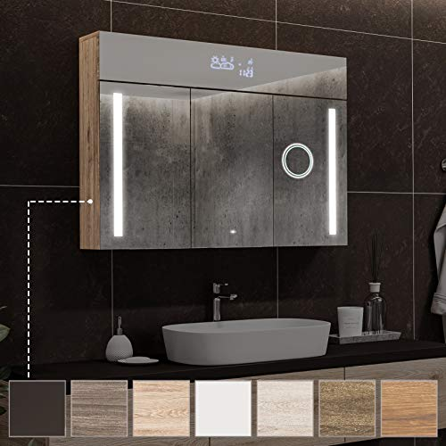 Artforma Spiegelschrank mit LED Beleuchtung anpassen (100 x 72 x 17 cm) | Badezimmerschrank, Badschrank A++ | Schalter, WETTERSTATION, Bluetooth Lautsprecher, LED Uhr, Schminkspiegel, Steckdose