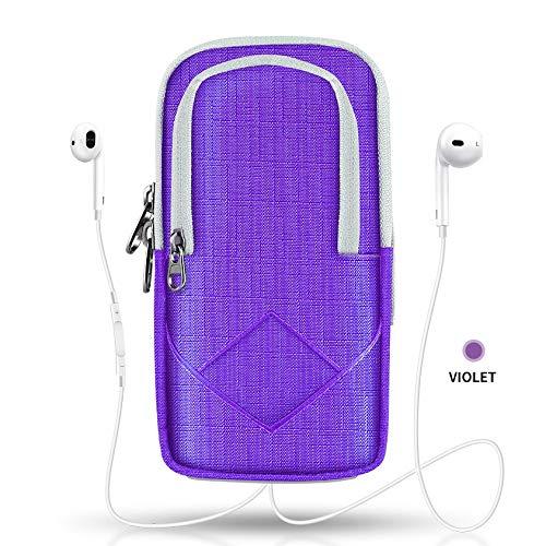 wasserdichte Sport Lauf Halter Fall for 6 Zoll Telefon An Hand Armband for iPhone 7 6 8 Plus X Xs Max Xr Gym Arm Handytasche Tasche (Color : Purple)