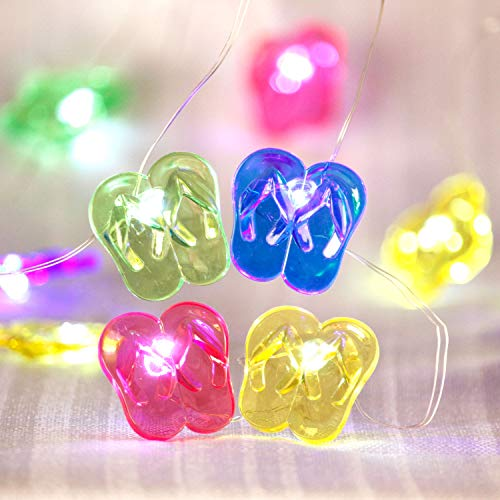 Tropical Beach Themed Slipper String Lights, Flip Flop Party Lantern Copper Wire 10ft 30 LED with Remote for Bedroom Dorm Wreathe Summer Wedding Kindergarten Decorations