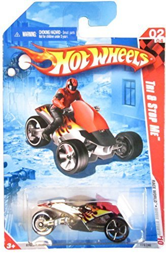 Hot Wheels 2010 Race World: Movie Stunts 1:64 Scale Black w/ Flames w/ Red Guard Tri & Stop Me 02/04 (174/240) by