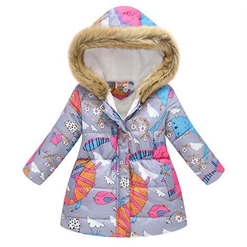 Kinder Mädchen Jacke Winterjacke Mantel Baby Warm Kapuze Oberbekleidung Mantel Mädchen Kleidung Kinder Daunenparka Gr. 4 Jahre, Grau2