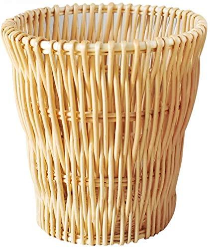 Verdikte vuilnisbak Rattan Prullenbak, rieten Handgeweven Afvalbak 12l Rubbish Bin Zonder Deksel Rond Afvalpapier Mand Voor Thuis Slaapkamer Eenvoudige moderne high-end prullenbak
