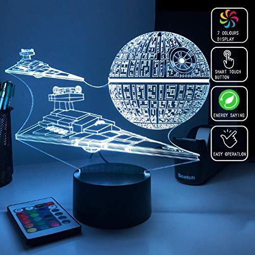 Star Wars Estrella De La Muerte Imperio Destructor 3D Acrílico Luz De La Noche, De 7 Colores LED Táctil Interruptor Remoto De Control Decoración Lámpara De Mesa Luminoso De Reposo Para El Dormitorio