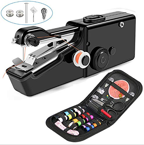 TooFu Hand-held Portable Electric Sewing Machine Set, Mini Household Hand-held Electric Sewing Machine with Free Sewing Kit,Black