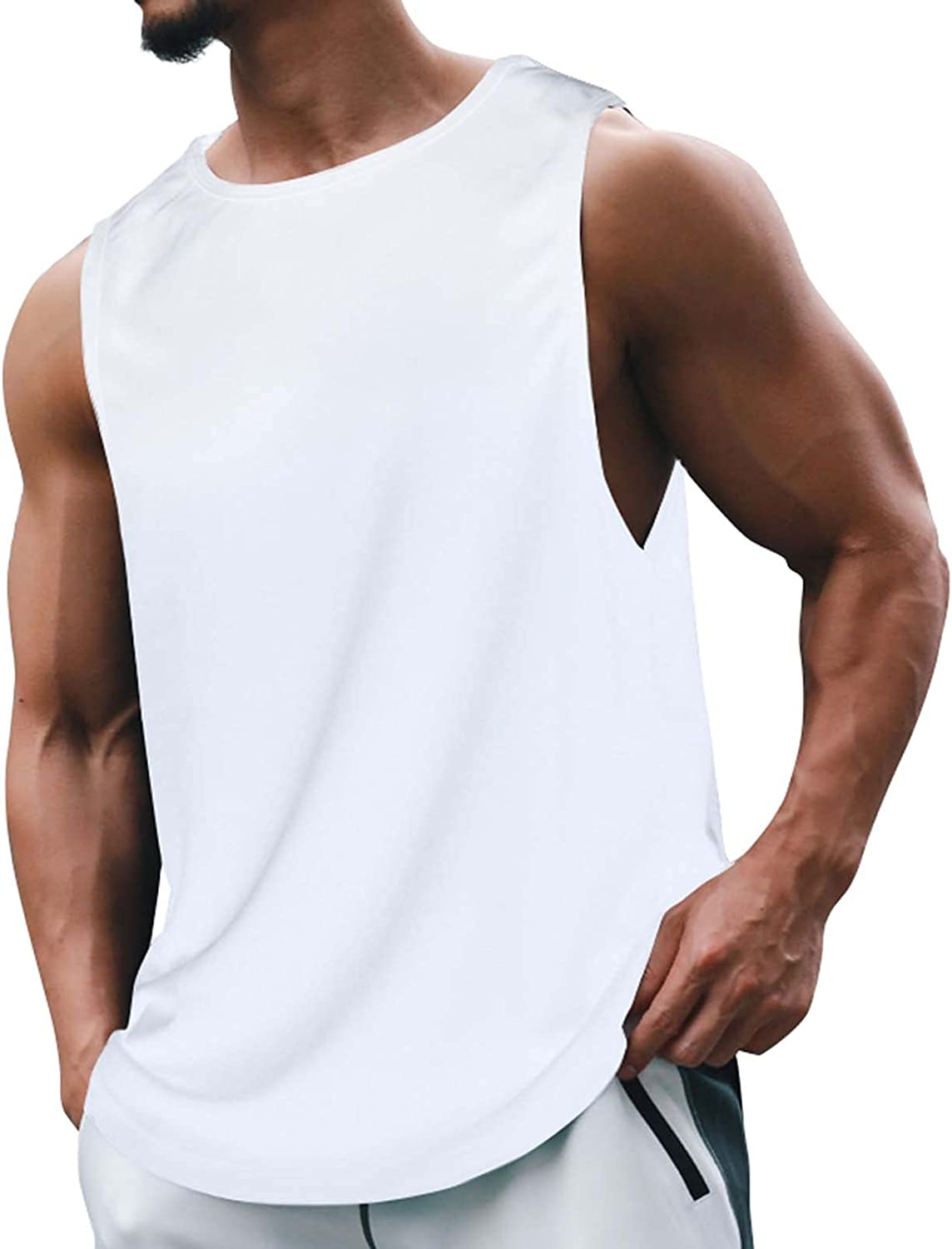 Mens Workout Tank Tops Muscle Sleeveless Hoodies Gym Bodybuilding Cut Off T-Shirts