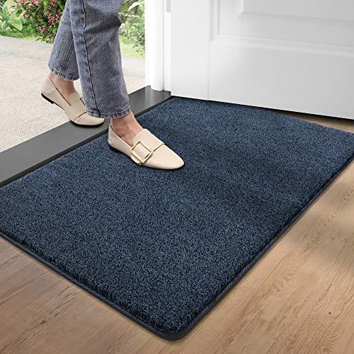 DEXI Schmutzfangmatte,rutschfeste Fußmatte für Innen und Außen,Waschbar Eingangsteppich Saugstarke Türmatte - Sauberlaufmatte 60 x 90 cm,Blau-schwarz