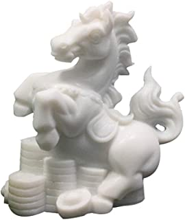 LINGS Horse Statues White Marble Stone Guardian,Chinese Zodiac Feng Shui Decor,for Home and Office Attract Wealth and Good Luck,Best Housewarming Congratulatory Gift