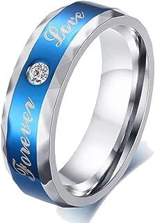 خاتم رجالي من التيتانيوم الصلب 6 مم خاتم الزفاف الأزرق خواتم للرجل إلى الأبد الحب Cz خاتم المرأة