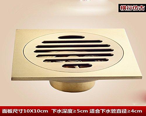 Sdkky Archaize Cuivre Déodorant Siphon de sol, DE SALLE DE BAIN, DE SALLE DE BAIN, Toilette, machine à laver Siphon de sol, écran de filtre en acier inoxydable, 10*10 cm