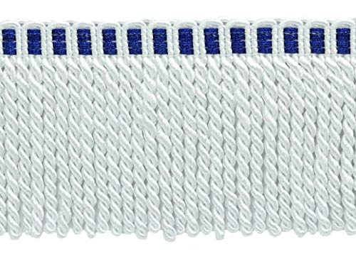 5 Yard Value Pack / 3 Inch Long Bullion Fringe Trim/Style# DB3 Color: White with Blue Header A1T (15 Feet / 4.6 Meters)