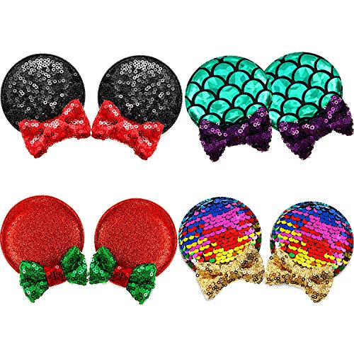 4 Pairs Lovely Sequin Mouse Ears Hair Clip Glitter Hair Accessories Party Favor Decoration, Mouse Ears Barrettes Bow Clips for Children and Adults (Multicolor Hair Clip)