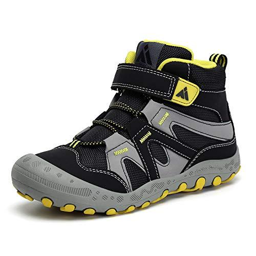 Mishansha Boys Hiking Boots Walking Running Non-Slip Girls Sneakers Outdoor Water Resistant Kids Trekking Shoes Black Toddler 8.5