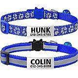 TagME katzenhalsband mit Namen und Telefonnummer auf,katzenhalsband mit sicherheitsverschluss, 2Pack/Navy blau