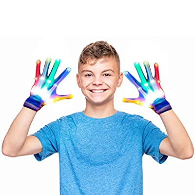 Dreamingbox Toys for 3-12 Year Old Boys, LED Flashing Gloves Adult Novelty Toys for 12-18 Year Old Girls Cool Fun 2020 New Gifts for Kids Boys Girls 12+ Stocking Fillers Rainbow Large Size GL10 by Dreamingbox
