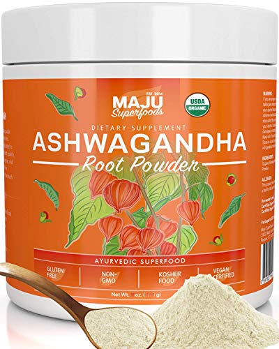 MAJU's Ashwagandha Powder - Organic Root, Supplements Anxiety Relief, Feel Good Mood, Use in India Moon Milk, Adaptogenic Natural Herbs w/Protein for Depression, Best Pure Ashwaganda to Extract, 170g