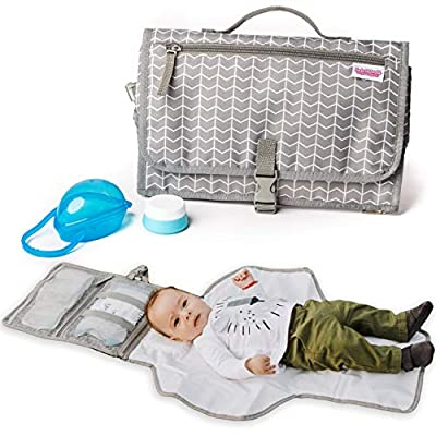 Easy to Clean Portable Changing Pad with Soft Head Pillow Binky Case & Baby Cream Jar | Waterproof Travel Changing Pad Great for on The go | Foldable into a Diaper Clutch Bag