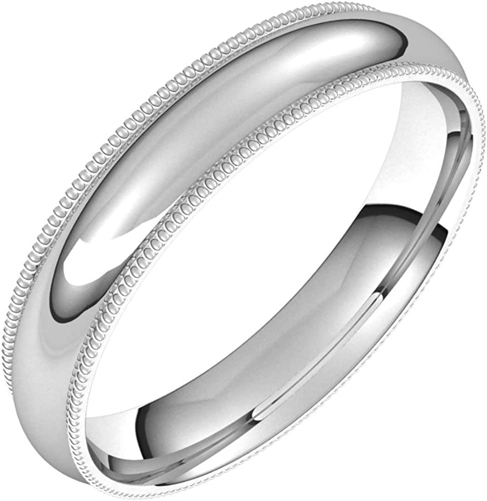 14k White Gold 4mm Milgrain Comfort Fit Bridal Wedding Band Ring, Size 14