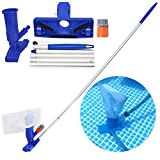 LXun Pool Pond Spa Mini Jet HandheldJetVacuumHeads Cleaner Set with Brush, Bag and 5 Pole Handle for for Above Ground Pool, Spa, Pond, Fountain and Hot Tub