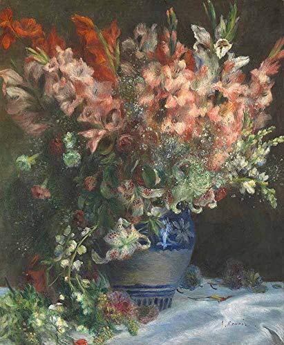 FAN C. Pierre-Auguste Renoir - Gladiolen In Einer Vase Leinwandbilder Reproduktionen Gerollte 40X50 cm - Stillleben Blumen Gemälde Gedruckt Wandkunst