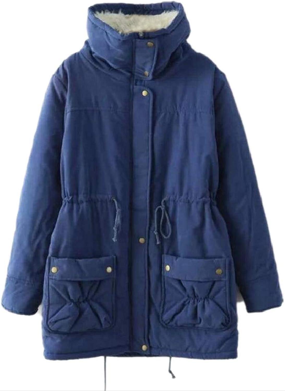 QDCACA Womens Elastic Mid Long Velvet Lapel Pocketed Thickened Parka Jacket