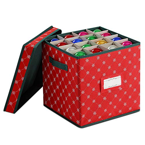 Christmas Ornament Storage Boxes with Lids[1-Pack]- Storage Boxes to Store Christmas Decor and Holiday Ornaments, Decorative Storage Organizer Containers Basket Cube with Handles for Holiday Storage