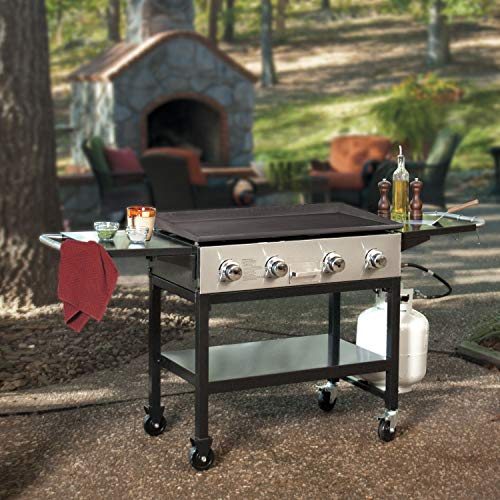 Lowest Price! MM Outdoor Gas Griddle 36 Flat Top 4-Burner Grill Station Side Shelves w/Cover & Clea...