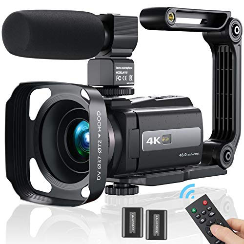 Videokamera Camcorder 4K, MELCAM WiFi Video Camcorder 30FPS für YouTube Vlogging Digitalkamera 16X Digital Zoom 3.0