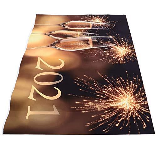 Amosfun 2021 Fotografia Sfondo Capodanno Foto Sfondo Vinile Studio Fotografia Fuochi Dartificio Vinile per 2021 Festa Festa di Natale Celebrazione 210X150 Cm Stile 3