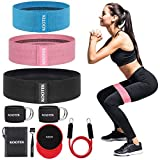 Kootek Booty Bands Resistance Bands for Butt and Legs 3 Levels Exercise Band with Door Anchor 2 Core...